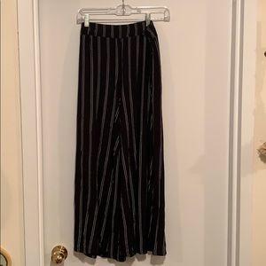 Stripped wide leg cotton pants